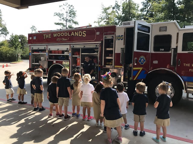 Woodlands Tree House visit from Fire Department, TX